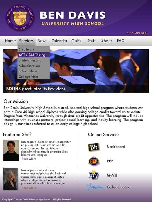 Ben Davis Students Revamp Website 1