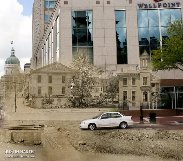 Merged photos of Indianapolis then & now 4