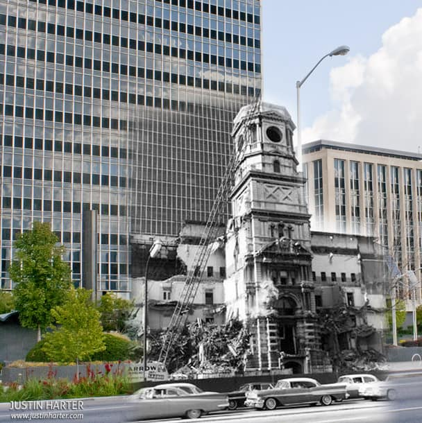 Merged photos of Indianapolis then & now 2