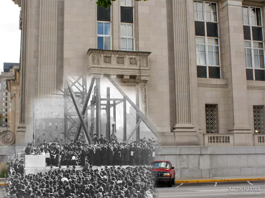 Merged photos of Indianapolis then & now 3