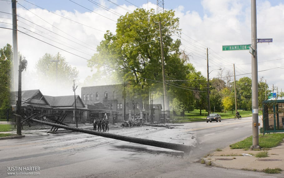 Merged photos of Indianapolis then & now 1