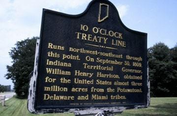 10 o'clock treaty line marker in Parke County