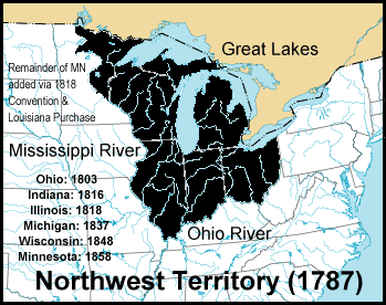 Map of northwest territory in 1787
